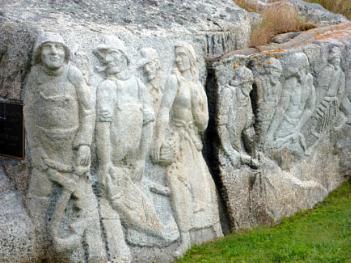 Wall carvings. Peggys Cove. Nova Scotia