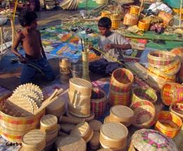 Apprentice in Bamboo Handicraft Work...