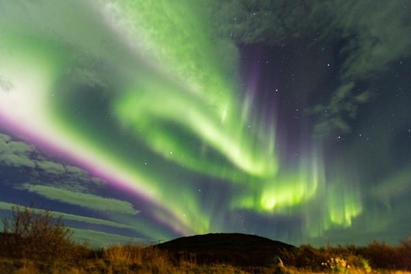Aurora over Hotel Glymur, Saurbaer, Iceland by pdunstan_Greymoon