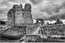 Ogmore Castle in Mono by geoffrey baker