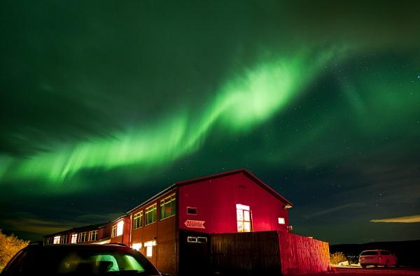 Aurora over Hotel Glymur, Iceland by pdunstan_Greymoon