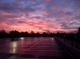 Sunrise over the car park