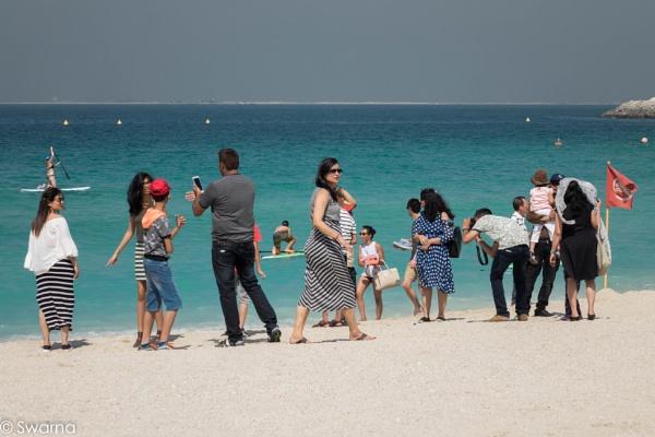 Tourists at Jumeirah Beach - Dubai