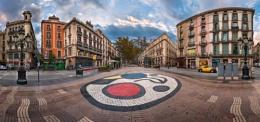 Panorama of La Rambla Street with Joan Miro Mosaic on the Floor,