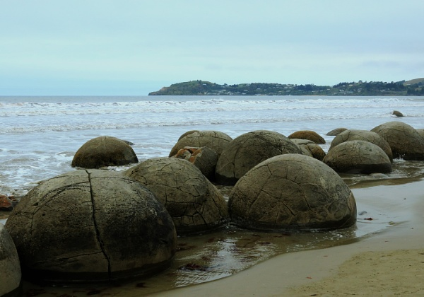 Moeraki Boulders New Zealand by Janetdinah