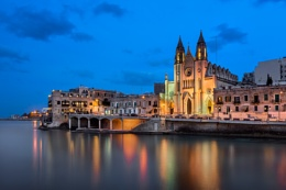 Balluta Bay and Church of Our Lady of Mount Carmel in the Evenin