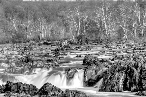 Great Falls in B&W by GGAB