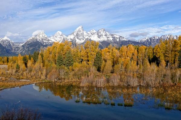 Jagged Grand Teton Mountain Range in Autumn