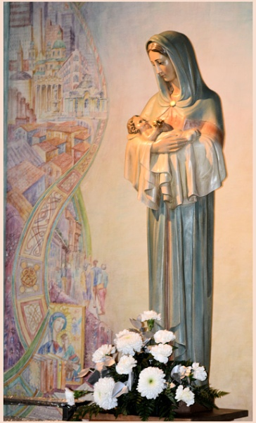 Mother Mary and Jesus by Rock