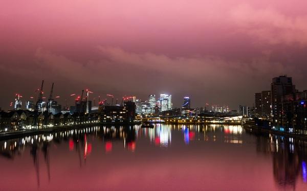 Dawn over Royal Victoria Docks...
