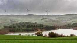Lake and wind turbines