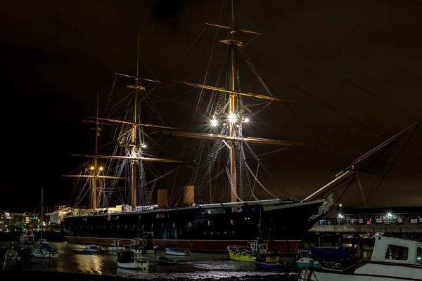 HMS Warrior at Night by Stu_Harris