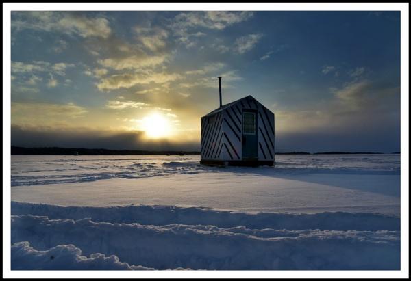 The lone ice fishing hut by djh698