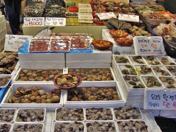 Seoul Sea Food Market Stall by PhotoHeritage