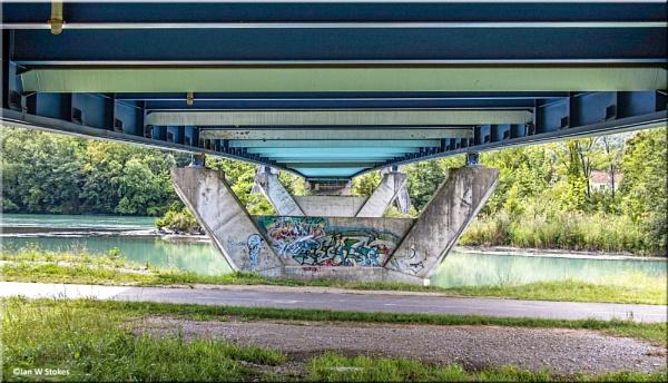Underneath the bridge over the River Rhone.