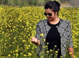 Tota in mustard flower field