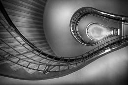 Light bulb stair case Prague, mono