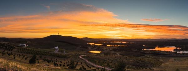 Dawn over the Arboretum, Canberra by BobinAus