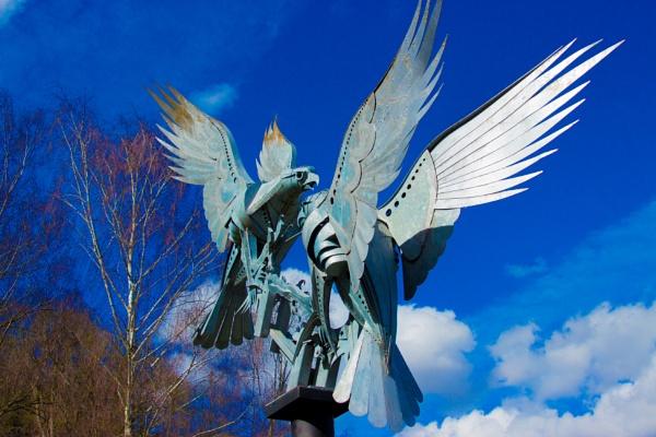 Malvern buzzards birds metal sculpture by Walenty Pytel. by Photony