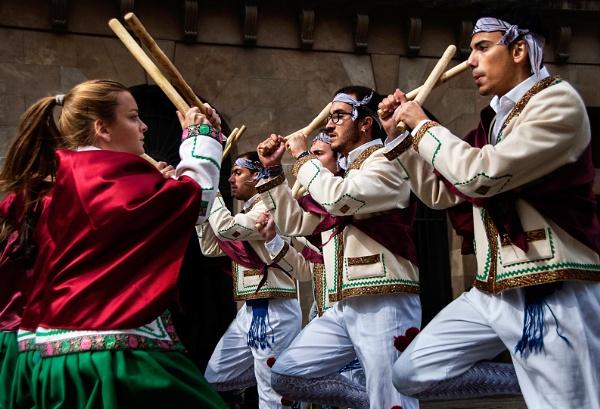 Festival Dancers - Pamplona Spain by Zydeco_Joe