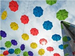 Umbrella's in the sky.