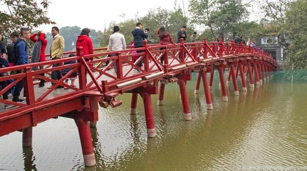Huc Bridge spanning Hoan Kiem Lake, Hanoi, Vietnam by brian17302