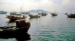 Junks off the Hong Kong coast