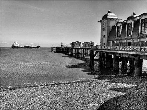 A ship, a pier, & shadows by franken