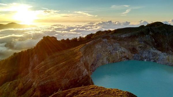 Kelimutu crater lake at sunrise, Flores, Indonesia