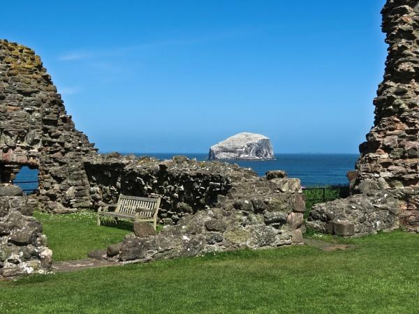 Bass Rock from Tantallon Castle.