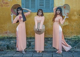 Young ladies wearing Ao Dai (Traditional Costume), Hoi An, Vietnam