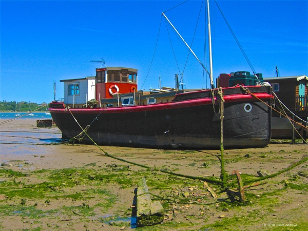 Converted Thames barge lying at Pin Mill on the R Orwell near Ipswich by sjbandrews