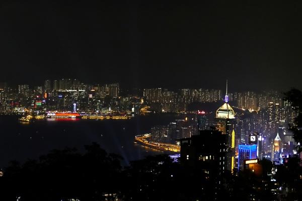 Night scene Victoria Harbour by manicam