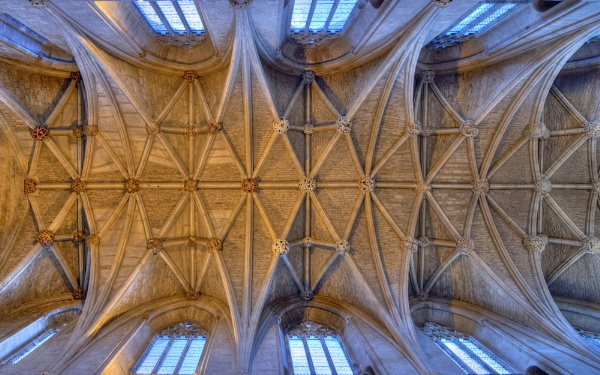 12th Century Vaulted Ceiling above the Nave, Malmesbury Abbey, Wiltshire by traveller47
