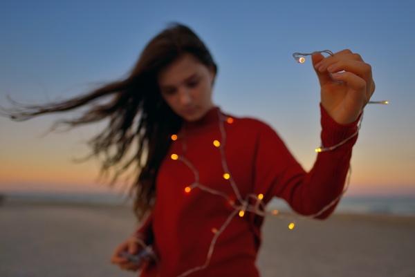 Teen girl on beach by jordachelr