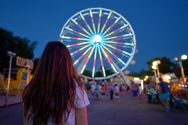 Teen girl  in amusement park by jordachelr