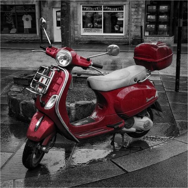 Red bike in the rain