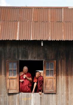 Burmese monks chilling ..