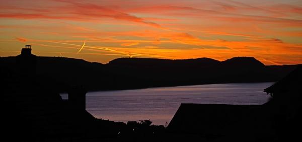 Sunrise 24th September (today) view from Lyme Regis towards Jurassic Coast - Golden Cap