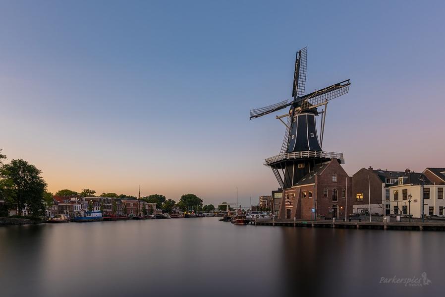 Haarlem Windmill at Sunset
