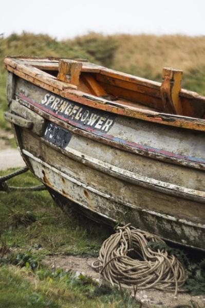 Abandoned fishing boat by mickwattam