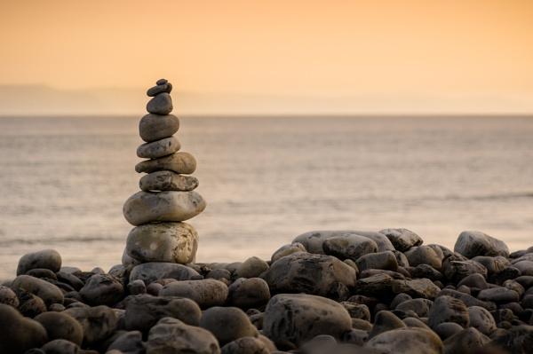 Gilestone Beach Stacked Stones by cardiffgareth