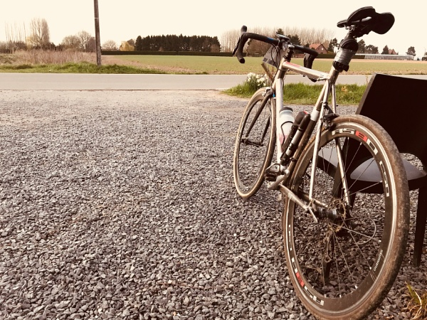 Cycling home after riding in the Paris Roubaix challenge