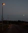 Streetlamps and the Moon.