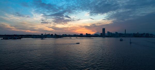 Yokohama harbour with Mount Fuji at sunset by Trekmaster01