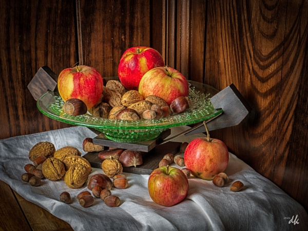 Still life fruit and nuts by chataignier