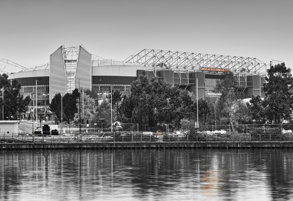 Manchester United Stadium in Black and White by Sambomma