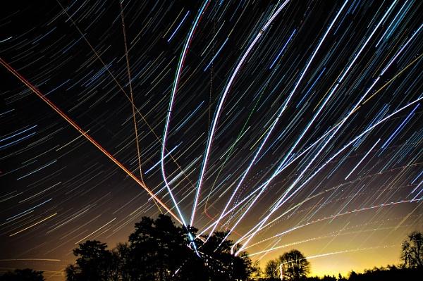 Star Trails Plane Trails by taf1