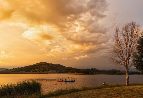 Canoeing on the Lake, Tuggeranong, Australian Capital Territory by BobinAus