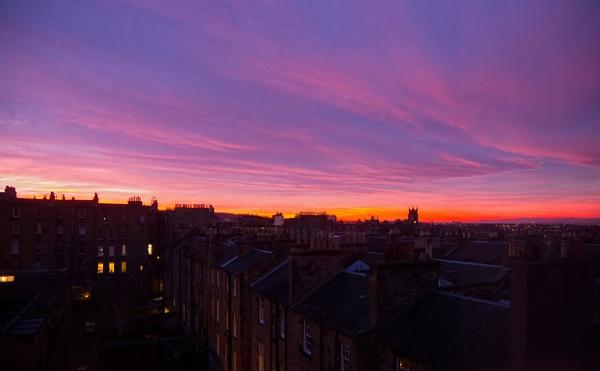 Sunset on Nelson Street East, Edinburgh by peterellison